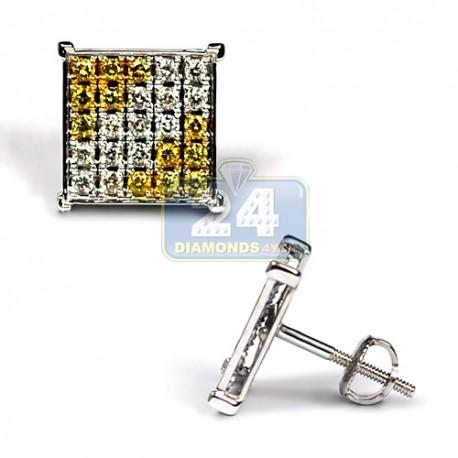 Mens Yellow Diamond Square Stud Earrings 14K White Gold 0.72 ct