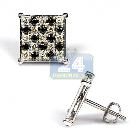 Mens Black Diamond Chess Stud Earrings 10K White Gold 0.75 ct