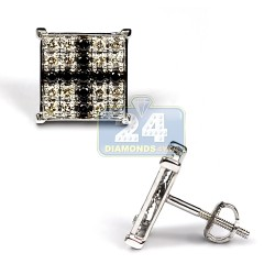 Mens Black Diamond Cross Stud Earrings 10K White Gold 0.73 ct