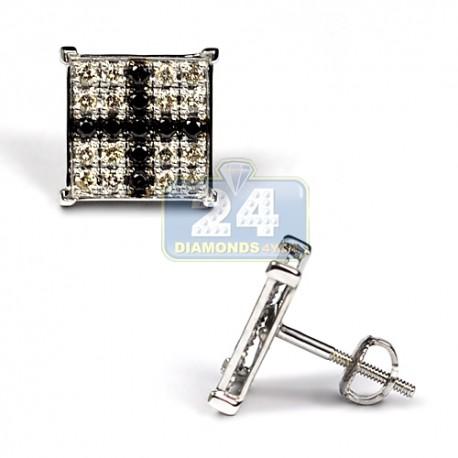 Mens Black Diamond Cross Stud Earrings 10K White Gold 0.73 ct