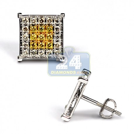 Mens Yellow Diamond Square Stud Earrings 14K White Gold 0.70 ct