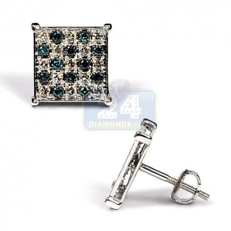 Mens Blue Diamond Square Stud Earrings 14K White Gold 0.70 ct