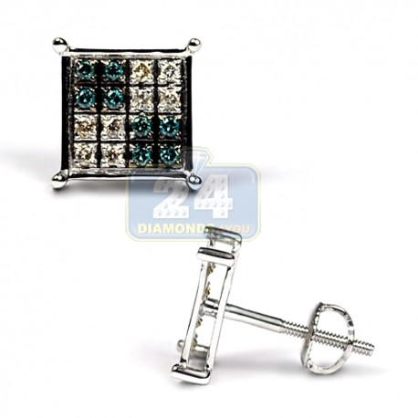 14K White Gold 0.30 ct Blue Diamond Mens Square Stud Earrings