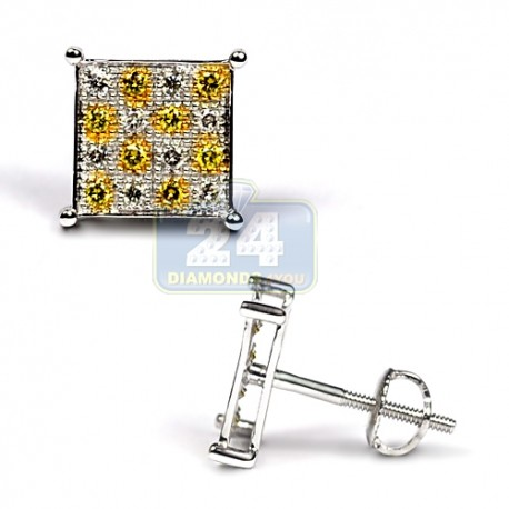Mens Yellow Diamond Chess Stud Earrings 14K White Gold 0.35 ct