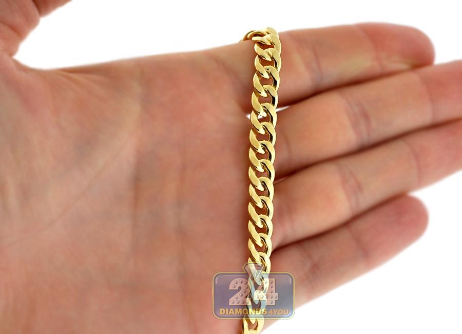 5d4c00f26dd83 14K Yellow Gold Puff Cuban Link Mens Chain 7.3 mm