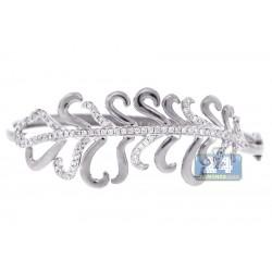 Womens Diamond Flower Bangle Bracelet 14K White Gold 1.24 Carat