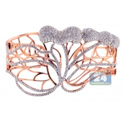 14K Rose Gold 6.24 ct Diamond Womens Bangle Bracelet 7 3/4 Inches