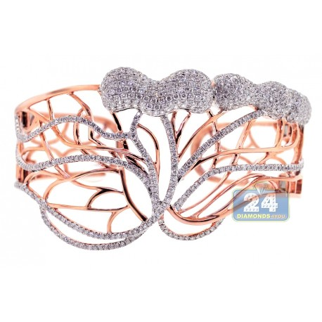 "Womens Diamond Open Bangle Bracelet 14K Rose Gold 6.24 ct 7.75"""