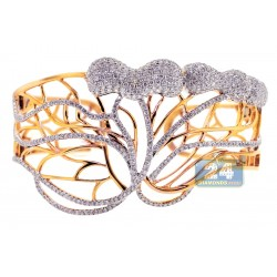 14K Yellow Gold 6.24 ct Diamond Womens Openwork Bangle Bracelet
