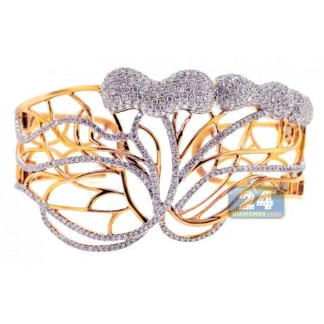"Womens Diamond Open Bangle Bracelet 14K Yellow Gold 6.24 ct 7.75"""