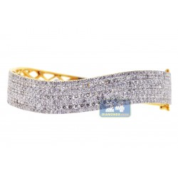 18K Yellow Gold 7.51 ct Diamond Wave Womens Bangle Bracelet