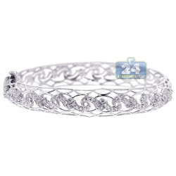 Womens Diamond Filigree Bangle Bracelet 18K White Gold 1.47 ct