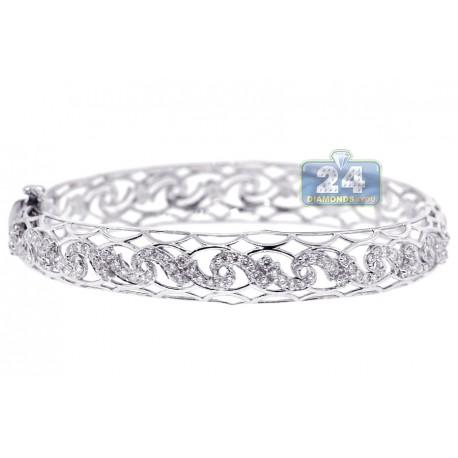 Womens Diamond Filigree Bangle Bracelet 18K White Gold 1.47 ct