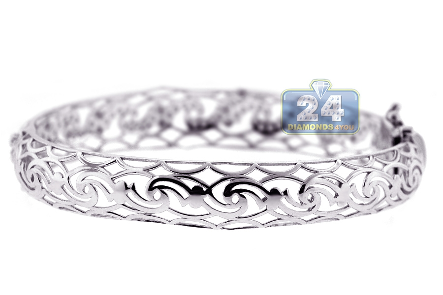 Womens Diamond Filigree Bangle Bracelet 18k White Gold 1 47 Ct