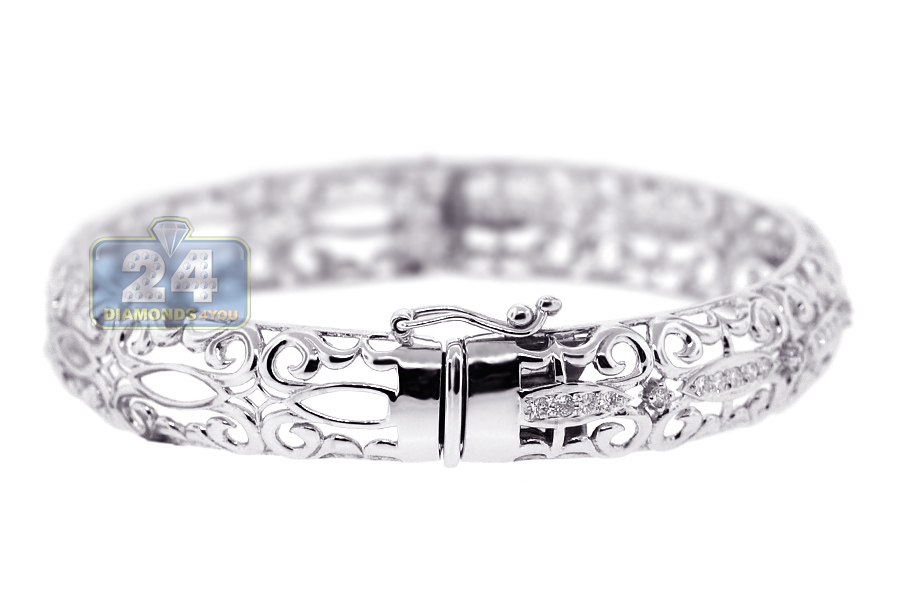 Womens Diamond Filigree Bangle Bracelet 18k White Gold 0 55 Ct