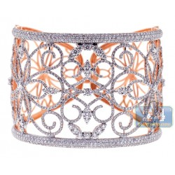 Womens Diamond Filigree Bangle Bracelet 18K Rose Gold 13.05 ct