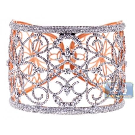 Womens Diamond Filigree Bangle Bracelet 18K Rose Gold 13.05 ct