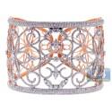 18K Rose Gold 13.05 ct Diamond Womens Filigree Bangle Bracelet