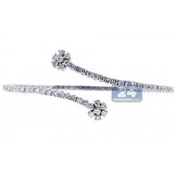 18K White Gold 3.35 ct Diamond Womens Bypass Bangle Bracelet 8 Inches