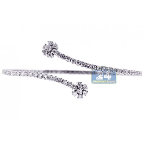 "Womens Diamond Bypass Bangle Bracelet 18K White Gold 3.35 ct 8"""