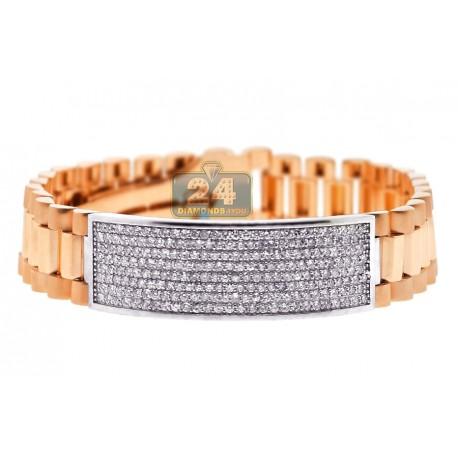 """Mens Diamond ID Bracelet 18K Rose White Gold 4.55 ct 16mm 9.5"""""""