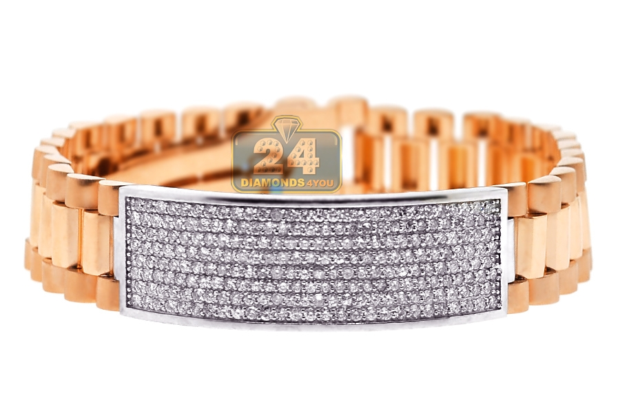 Mens Diamond ID Bracelet 18K Rose White Gold 455 ct 16mm 95