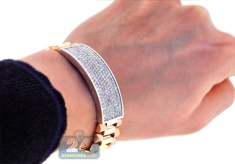 Mens Diamond Id Bracelet 18k Rose White Gold 4 55 Ct 16mm 9 5 Quot