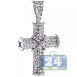 18K White Gold 2.65 ct Diamond Mens Cross Pendant Necklace