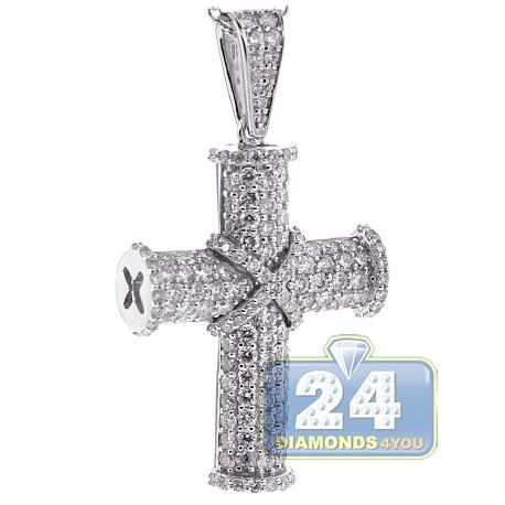 Mens Diamond Cross Pendant Necklace 18k White Gold 2 65ct 18 Quot