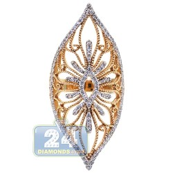 18K Rose Gold 0.84 ct Diamond Womens Long Filigree Ring