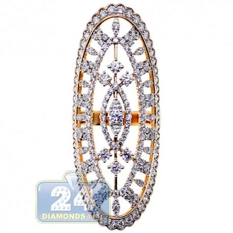 18K Rose Gold 2.80 ct Diamond Womens Long Ring
