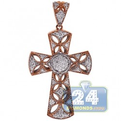 18K Rose Gold 0.58 ct Diamond Openwork Cross Pendant