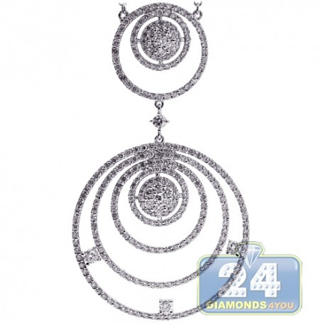 Womens Diamond Layered Circle Pendant Necklace 18K White Gold