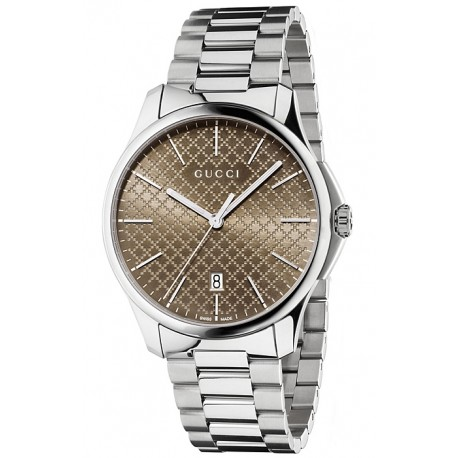 Gucci G-Timeless Brown Diamante Steel Bracelet Watch YA126317