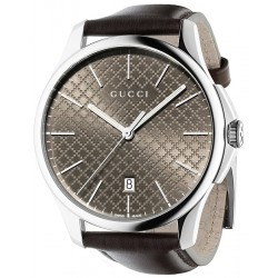 Gucci G-Timeless Brown Diamante Steel Leather Watch YA126318