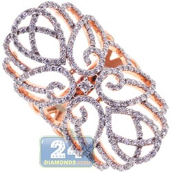 18K Rose Gold 1.82 ct Diamond Womens Filigree Ring