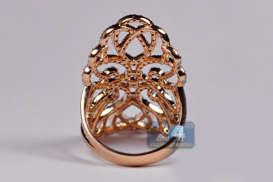 Womens Diamond Long Filigree Ring 18k Rose Gold 1 82 Ct