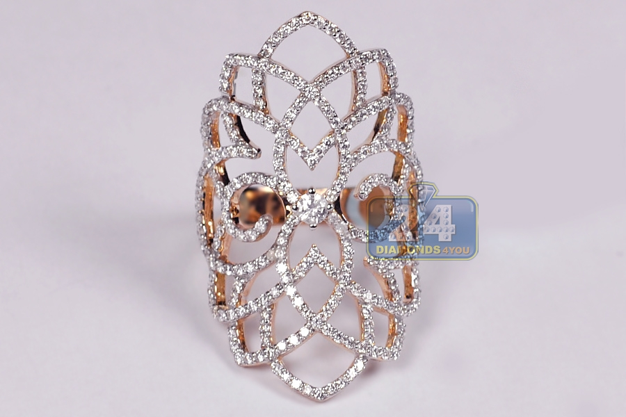 Womens Diamond Filigree Long Ring 18k Rose Gold 1 38 Ct