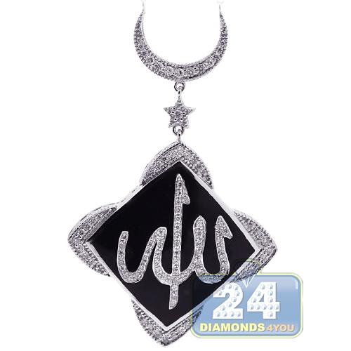 Womens diamond onyx allah islamic necklace 18k white gold 070ct aloadofball Choice Image