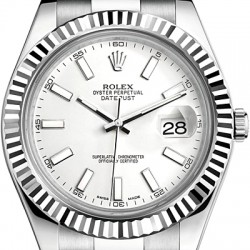 Rolex Datejust II Steel 18K White Gold 41 MM Watch 116334WSO