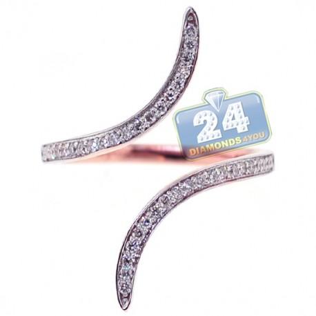 18K Rose Gold 0.30 ct Diamond Womens Bypass Ring