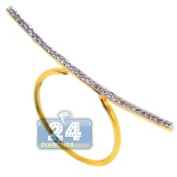 18K Yellow Gold 0.20 ct Diamond Womens Bar Ring