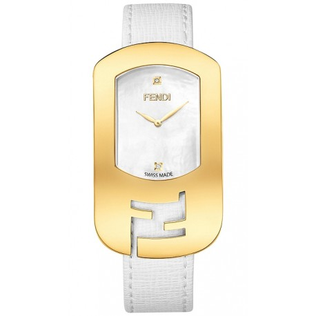 F300434541D1 Fendi Chameleon White Dial Yellow Gold Watch 29mm