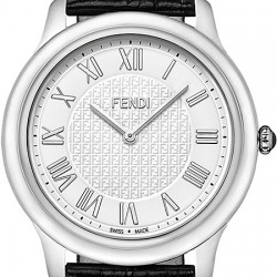 F250014011 Fendi Classico Large Round White Dial Steel Watch 40mm