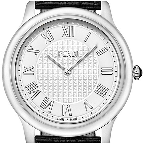 2f9ab8371565 F250014011 Fendi Classico Large Round White Dial Steel Watch 40mm