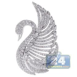 14K White Gold 1.92 ct Diamond Womens Swan Pendant