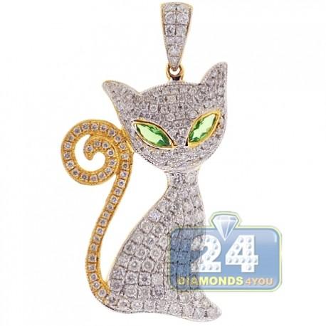 Womens Diamond Cat Long Tail Pendant 14K Yellow Gold 1.89ct