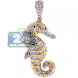 14K Yellow Gold 1.23 ct Diamond Womens Seahorse Pendant