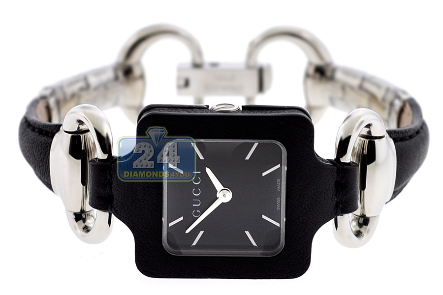 70c9712863a Gucci 1921 Steel Black Dial Leather Womens Watch YA130402