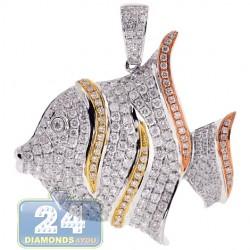 Womens Diamond Butterfly Fish Pendant 14K Three Tone Gold 2.55ct
